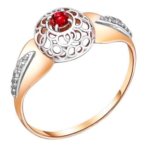 Кольцо из красного золота со вставками: цирконий, рубин синт.