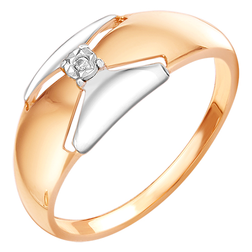 Кольцо из красного золота со вставками: цирконий