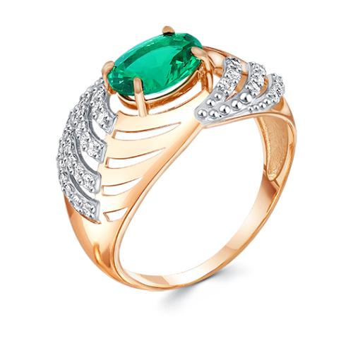 Кольцо из красного золота со вставками: агат, цирконий