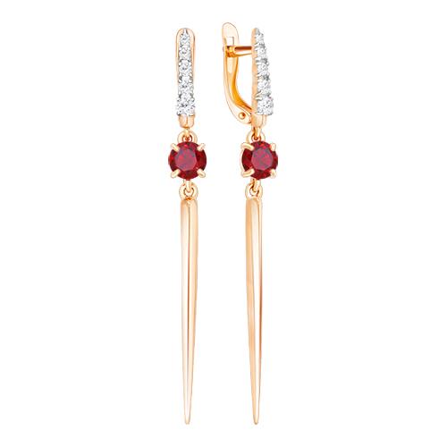 Серьги из красного золота со вставками: цирконий