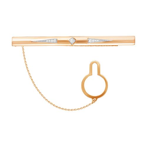 Зажим для галстука из красного золота со вставками: цирконий 03-1960 zouz фото