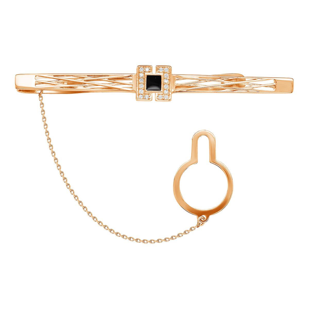 Зажим для галстука из красного золота со вставками: цирконий, эмаль 03-2699 zouz фото