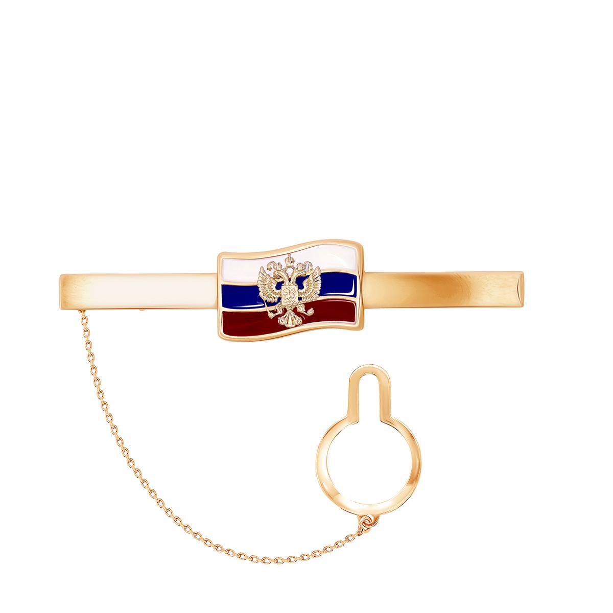 Зажим для галстука из красного золота со вставками: эмаль 03-2898 zouz фото