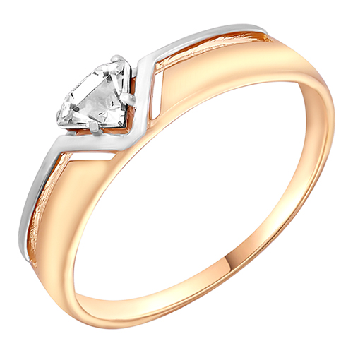 Кольцо из красного золота со вставками: кристалл Сваровски
