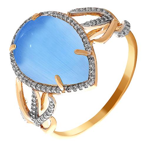 Кольцо из красного золота со вставками: кошачий глаз им., цирконий