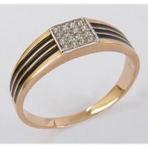Кольцо из красного золота со вставками: цирконий, эмаль